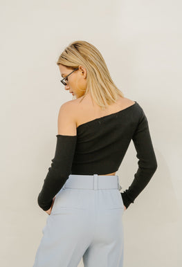 Top - Asymmetric Rib Knit Crop Top