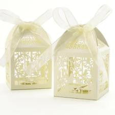 50 pieces bird laser candy boxes with ribbon - Wedding Favours Wellington