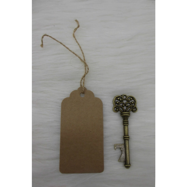 Set of 100 Antique bronze skeleton key bottle opener with thanks card escort card vintage keys.