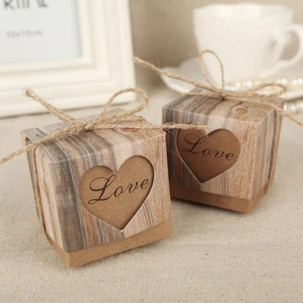 Wedding Love Heart rustic kraft candy boxes vintage ribbon gift. Set of 100.