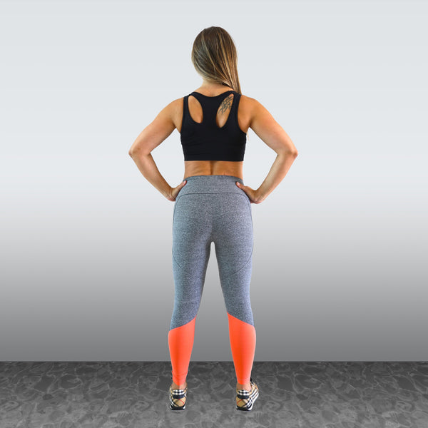 LEGGING CINZA COM CORAL - BE FITNESS