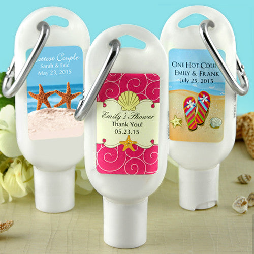 Beach Themed Sunscreen Wedding Favors