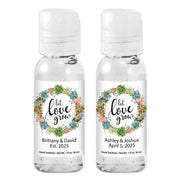 Let Love Grow Succulent Wreath Personalized Hand Sanitizer, Custom Hand Sanitizer Wedding Favors, Hand Sanitizer Party Favors (Set of 12)