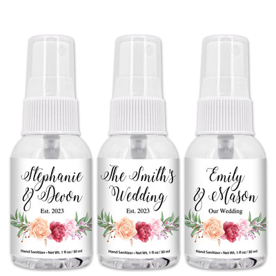 Personalized Hand Sanitizer Favors, Hand Sanitizers Wedding, Bridal Shower Favors, Travel Size, 1 oz Bottle (Set of 12)