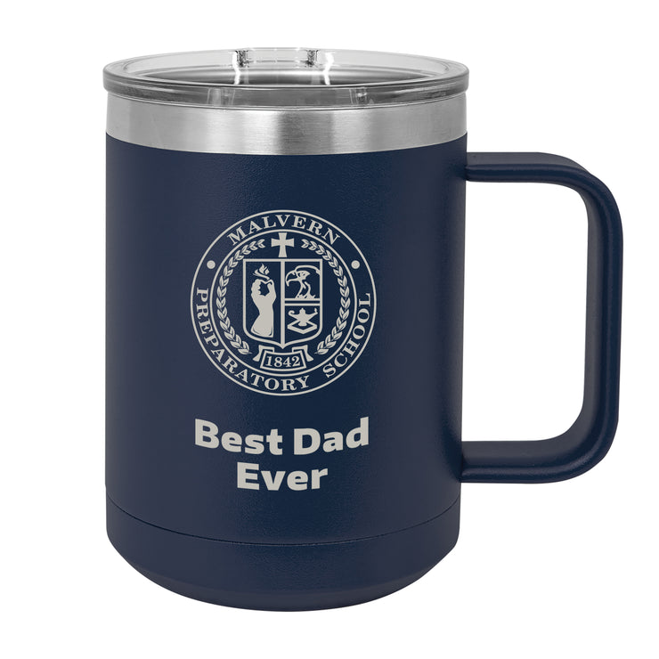 MP 15 oz. Personalized Navy Blue Insulated Mug with Handle and Slider Lid