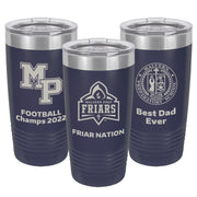 MP 20 oz. Custom Navy Blue Insulated Tumbler with Clear Lid