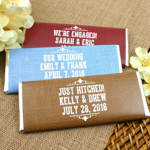 Personalized Rustic Burlap Wedding Hershey Bars - Silhouette Collection