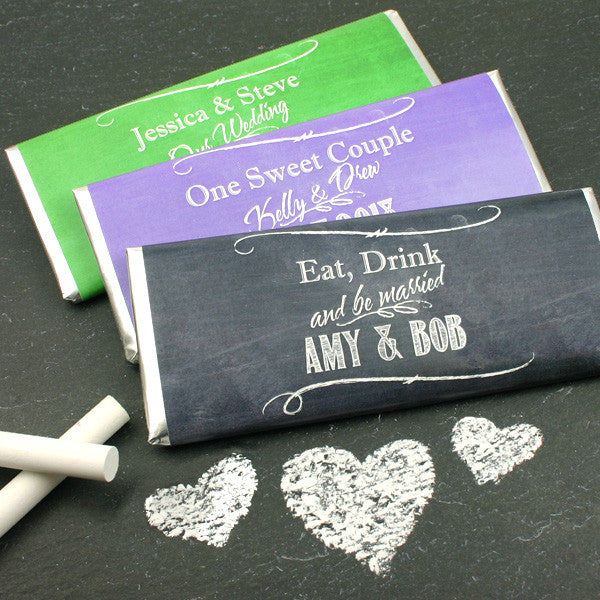 Personalized Chalkboard Wedding Hershey Bars - Silhouette Collection