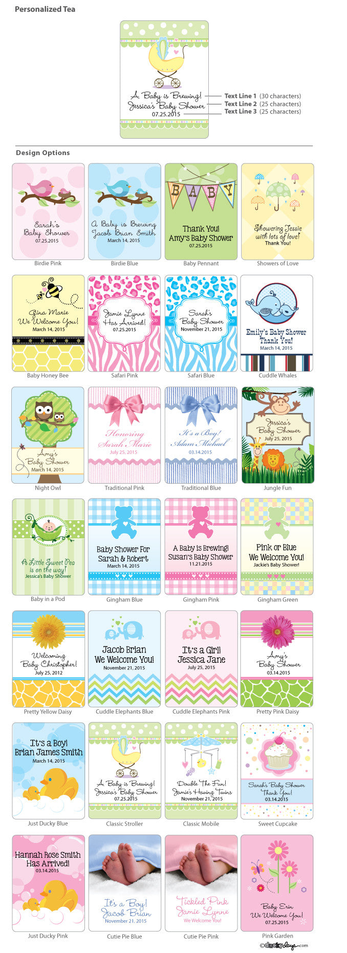 Baby Shower Personalized Tea Bags