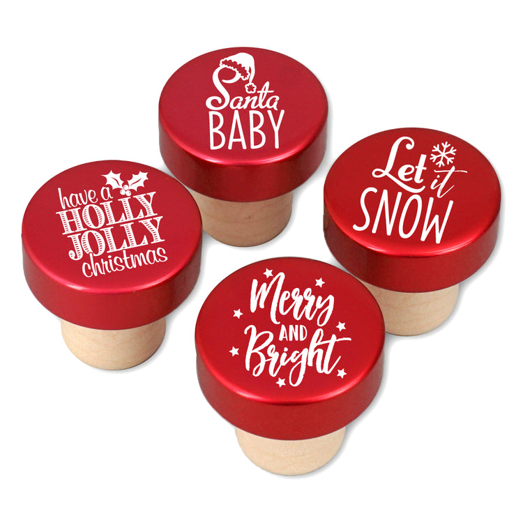 Wine Stoppers, Christmas Holiday Sayings Bottle Stoppers, Red - Set of 4