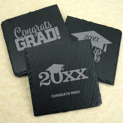 Graduation Square Slate Coasters