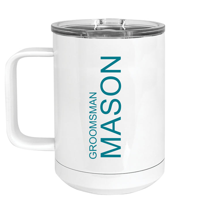 Custom 15 oz. White Insulated Mug with Handle and Slider Lid
