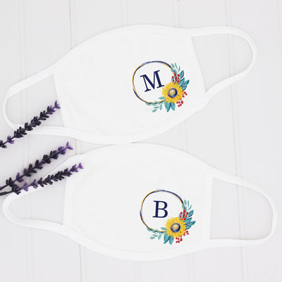 Monogram Sunflower Face Mask, Made in USA