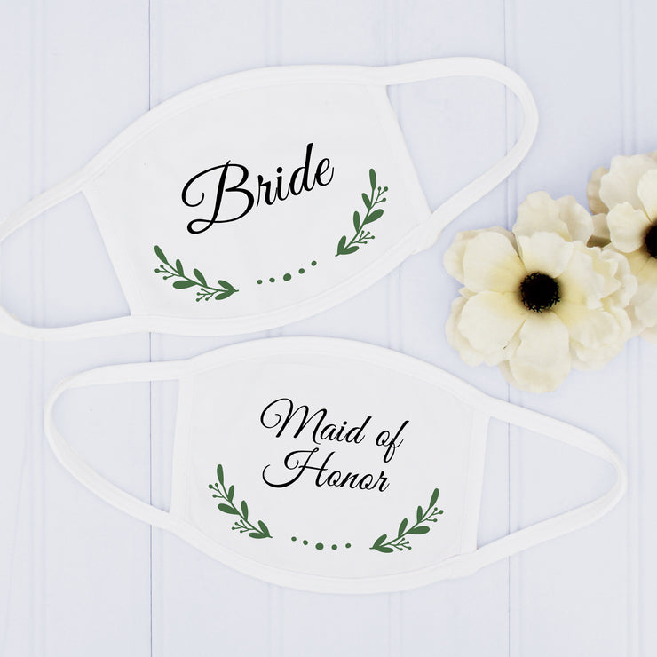 Wedding Party Face Masks, Vine Design, Bridal Party Masks, USA Made