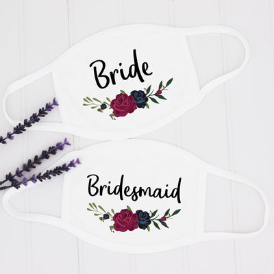 Wedding Party Face Masks, Bridal Party Masks, Navy & Burgundy Flowers, USA Made