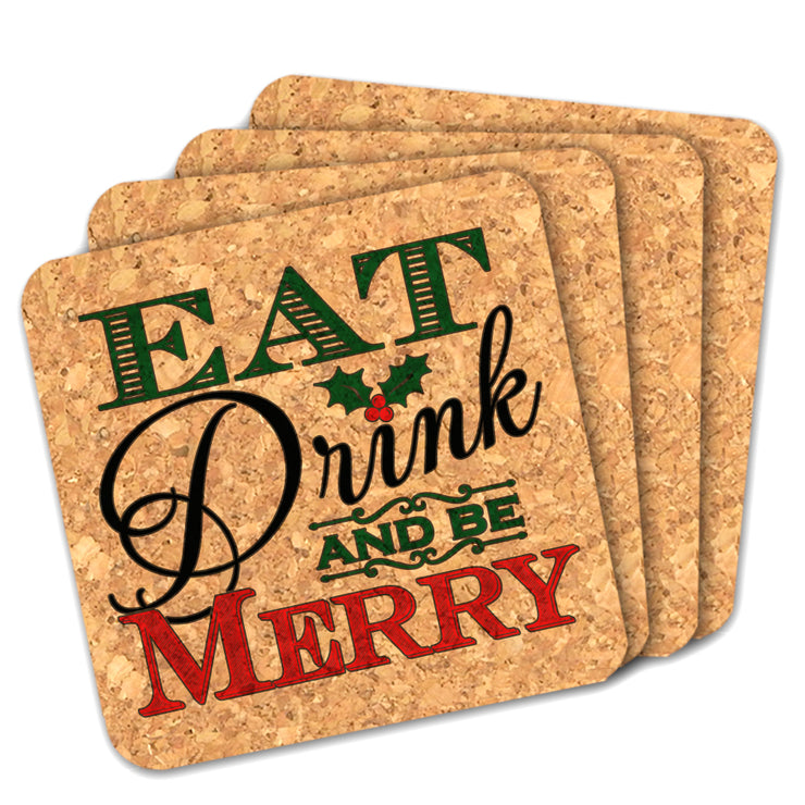 Eat Drink Be Merry Square Cork Coasters - Set of 4
