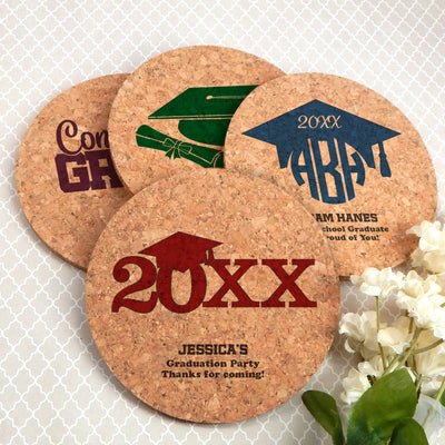 Graduation Round Cork Coasters