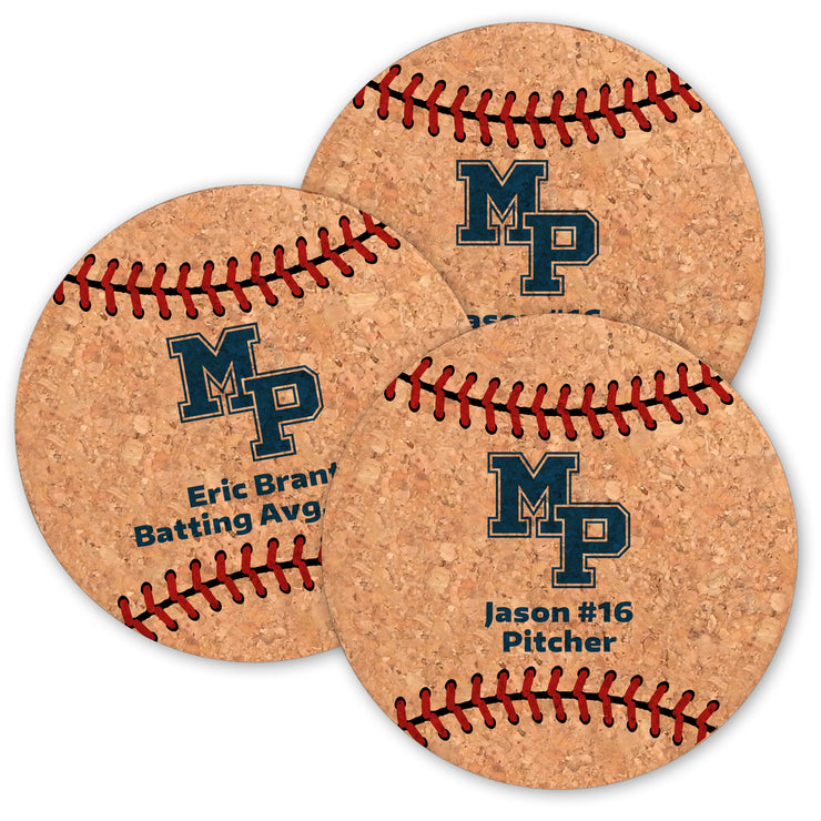 MP Baseball Cork Coasters (Set of 6)