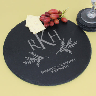 Monogram Round Slate Serving Tray, Cheese Board, Trivet
