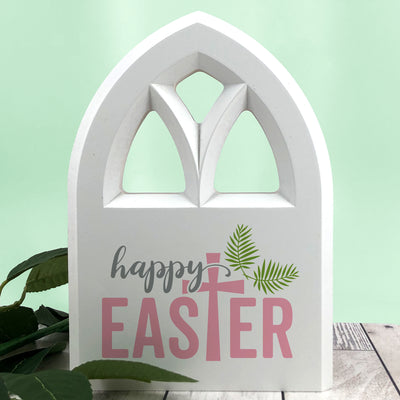 Happy Easter Wooden Chapel Window, Wood Sign, Easter Table Decorations