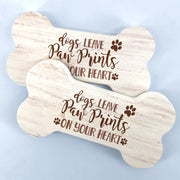 Bone Shaped Wood Table Decor, Paw Prints in your Heart, Beware of Wigglebutt, Dog and Puppy Home Decor