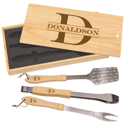 Custom 3-Piece BBQ Set in Wooden Gift Box