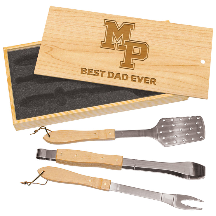 MP Custom 3-Piece BBQ Set in Wooden Gift Box