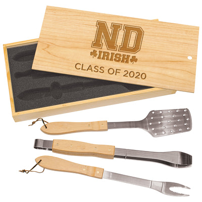 ND Custom 3-Piece BBQ Set in Wooden Gift Box