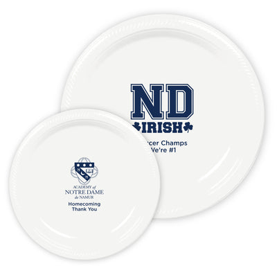 ND Custom White Plastic Plates (2 Sizes Available) (Set of 50)