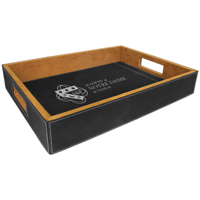 Academy of Notre Dame de Namur Black Faux Leather Serving Tray