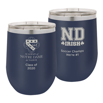 ND 12 oz. Personalized Navy Blue Stemless Insulated Tumbler with Clear Lid