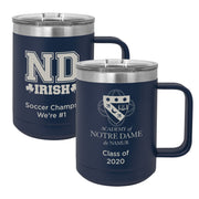 ND 15 oz. Personalized Navy Blue Insulated Mug with Handle and Slider Lid