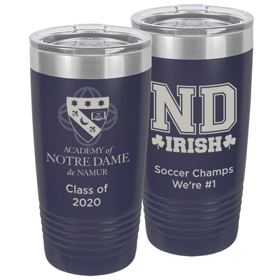 ND 20 oz. Custom Navy Blue Insulated Tumbler with Clear Lid