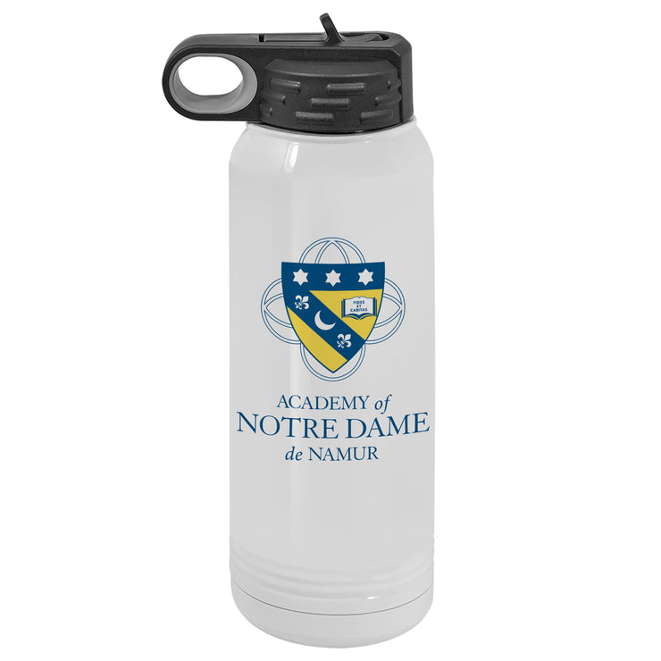 ND 30 oz. Custom White Water Bottle - Wide Mouth with Straw Lid