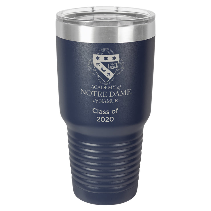 ND Large 30 oz. Personalized Navy Blue Insulated Tumbler with Clear Lid