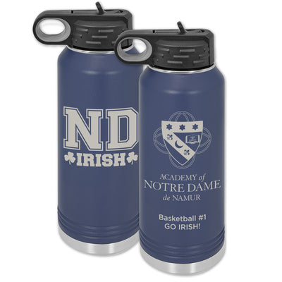 ND 32 oz. Custom Navy Blue Water Bottle Wide Mouth with Straw Lid