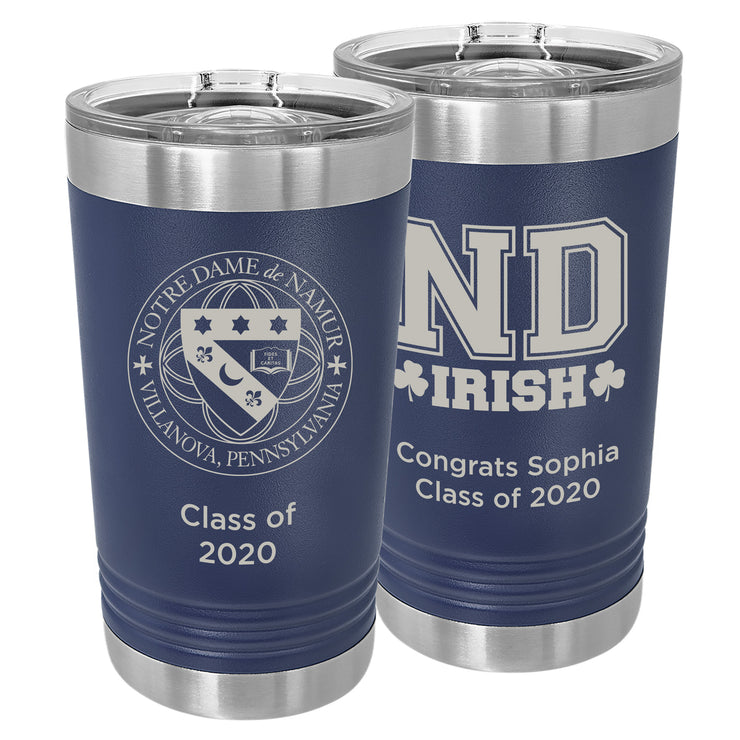 ND Custom 16 oz. Navy Blue Insulated Tumbler with Slider Lid