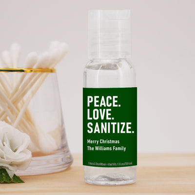Peace. Love. Sanitize. Hand Sanitizers, Christmas Hand Sanitizer, Set of 12