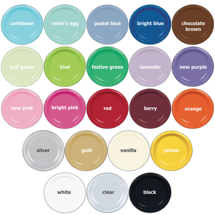 "Custom Logo 7"" Round Plastic Plates (Set of 50)"