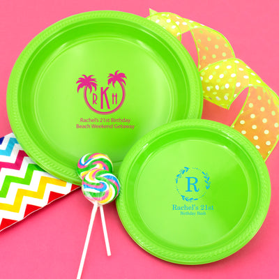 "Personalized Monogram 7"" Round Plastic Plates (Set of 50)"