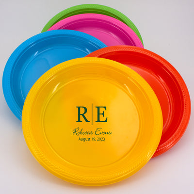 "Personalized Monogram 10.5"" Round Plastic Plates (Set of 50)"