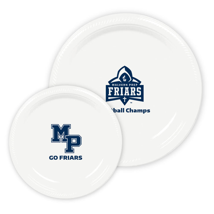 MP Custom White Plastic Plates (2 Sizes Available) (Set of 50)