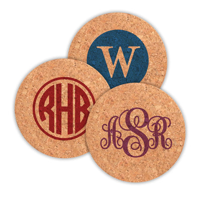 Monogram Round Cork Coasters - Set of 4