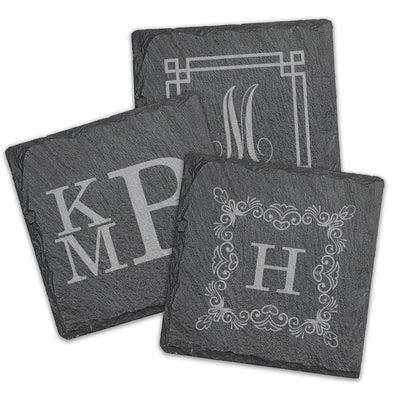 Monogram Square Slate Coasters - Set of 4
