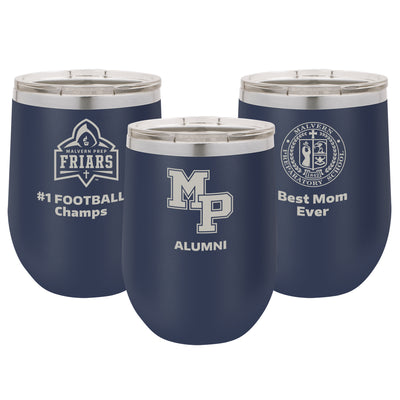 Malvern Prep 12 oz. Personalized Navy Blue Stemless Insulated Tumbler with Clear Lid