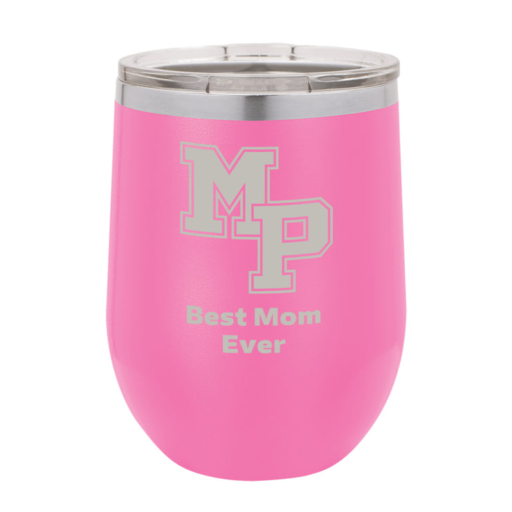 MP Custom 12 oz. Pink Stemless Insulated Tumbler with Clear Lid