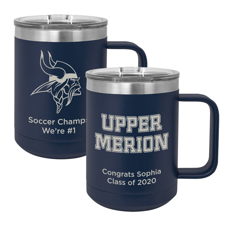 Upper Merion SD 15 oz. Personalized Navy Blue Insulated Mug with Handle and Slider Lid