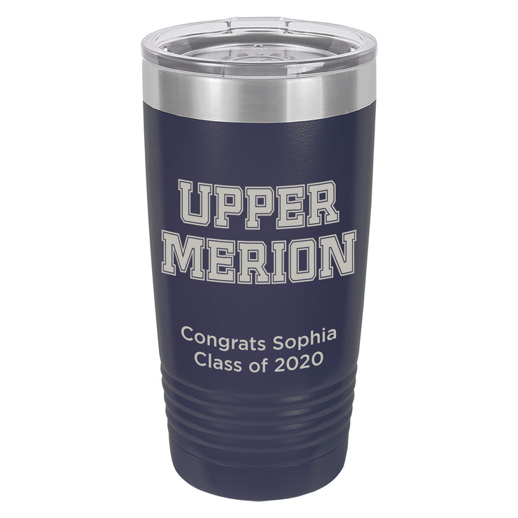 Upper Merion SD 20 oz. Custom Navy Blue Insulated Tumbler with Clear Lid