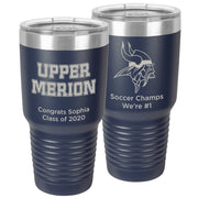 Upper Merion SD Large 30 oz. Personalized Navy Blue Insulated Tumbler with Clear Lid
