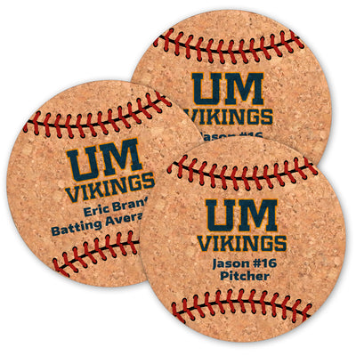 Upper Merion Baseball Cork Coasters (Set of 6)